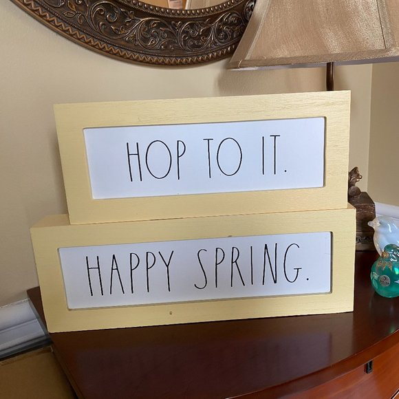 RAE DUNN Wood HOP TO IT + HAPPY SPRING Box SIGNS